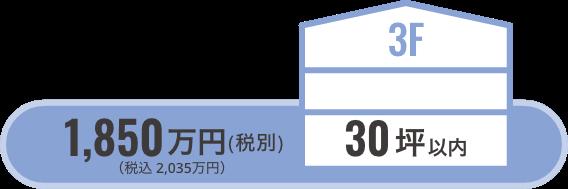 3階建30坪以内/1380万円(税込1518万円)